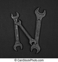 修理, 做,  n, 字母表, 信, 工具