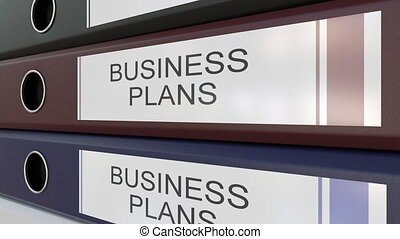 Office binders with Business plans tags different years -...