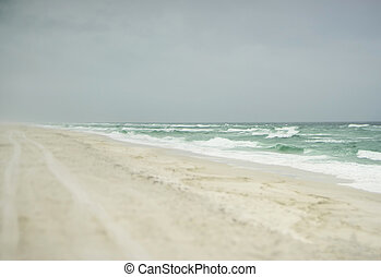 Moody Florida Beach on Stormy Day in the Gulf of Mexico -...