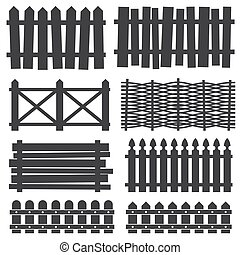 Country wooden fences, palisade vector silhouettes