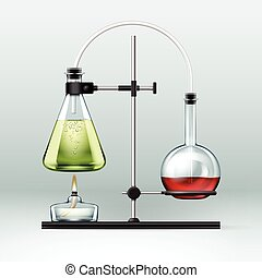 Chemical laboratory experiment - Vector chemical laboratory...