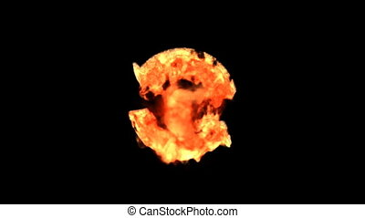 fire recycle - Burning symbol isolated on black (with matte)
