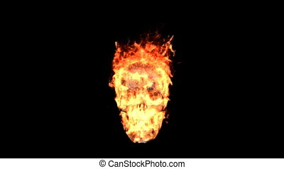 fire skull - Burning symbol isolated on black with matte