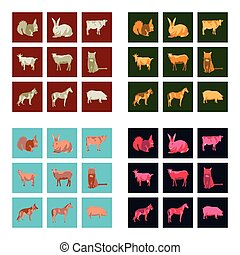Set of vector illustration in flat style animals