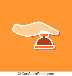 paper sticker on stylish background hand bell - paper...