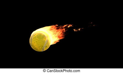 fire tennis ball - Burning ball isolated on black (with...