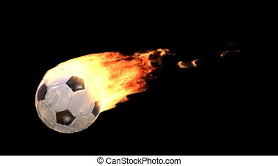 fire soccer ball - Burning ball isolated on black (with...