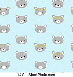Cute seamless pattern for little boys with funny bears....