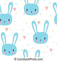 Cute seamless pattern for little boys with funny bunny....