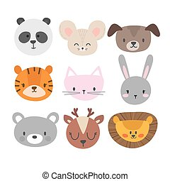 Set of cute hand drawn smiling animals. Cat, bunny, panda, lion, tiger, dog, deer, mouse and bear. Cartoon zoo