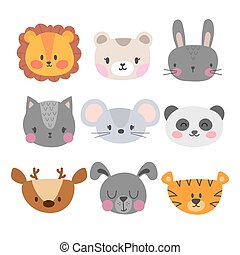 Set of cute hand drawn smiling animals. Cat, lion, panda, tiger, dog, deer, bunny, mouse and bear. Cartoon zoo