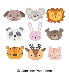 Set of cute hand drawn smiling animals. Cat, panda, tiger, dog, deer, lion, bunny, mouse and bear. Cartoon zoo