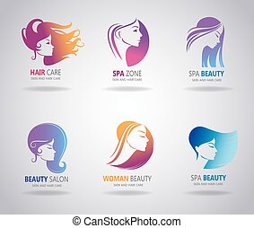 Girls portrait - vector silhouette icons. - Silhouettes of a...