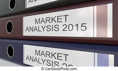 Office binders with Market analysis tags different years