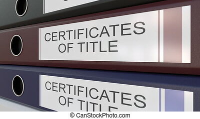 Office binders with Certicicates of title tags - Line of...