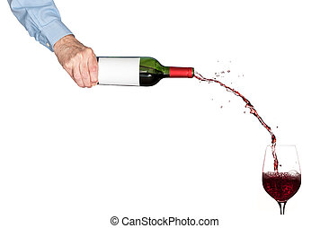 Wine pouring from bottle into glass