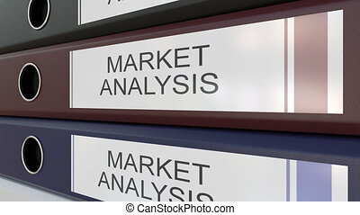 Office binders with Market analysis tags different years -...