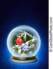 Christmas ornaments in magic crystal - Vertical background -...