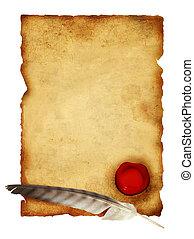 rúbrica, Pergamino, pluma