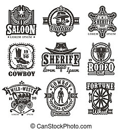 Set of wild west logos, badges with cowboy and attributes of...