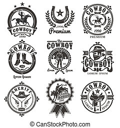 Set of rodeo logos, badges with cowboys silhouettes riding...
