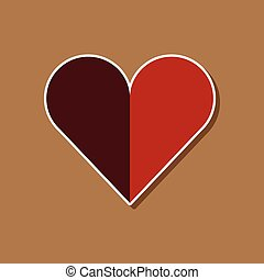 paper sticker on stylish background Hearts suit - paper...
