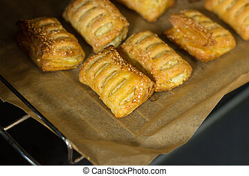Fried patties with puff pastry cheese. Bakery products.