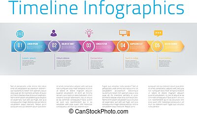 Infographics with steps or options - Arrowhead bar timeline...