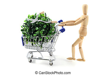 wooden mannequin shopping garden utensils in a shopping cart...