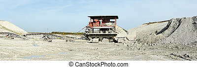 chalk mine with stone crusher and conveyor belt. mining...