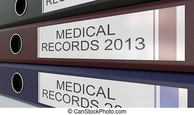 Office binders with Medical records tags different years -...