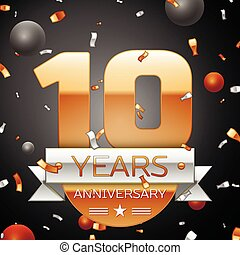 Ten years anniversary celebration background with silver...