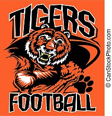 tigers football team design with mean mascot for school,...
