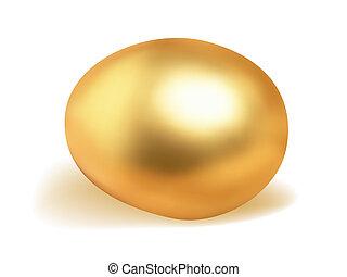 Golden egg isolated on white.