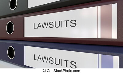 Office binders with Lawsuits tags - Line of multicolor...