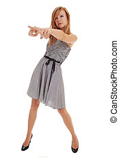 Girl in black white dress. - A young pretty blond woman in a...