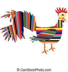 Abstract rooster with colored stripes logo - Abstract...