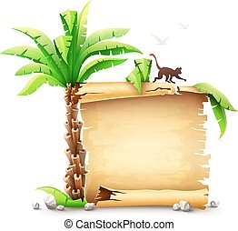 Old paper manuscript bundle and palm with monkey silhouette