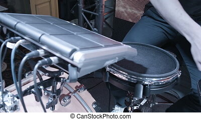 Modern drum kit at the concert