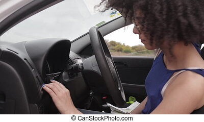 Female driver enter wrong paaword key numbers - Young driver...