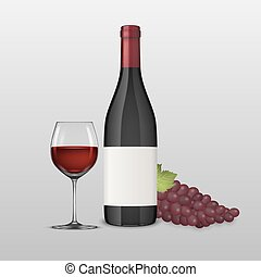 Vector realistic grapes brunch, wine glass and bottle of red...