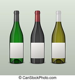 Set of 3 realistic vector wine bottles with blank labels isolated on white background