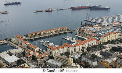 Aerial view of Gibraltar bay - An aerial view of Gibraltar...