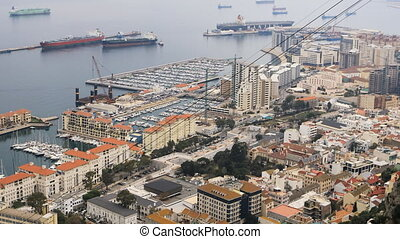 Aerial view of Gibraltar harbor - An aerial view of...