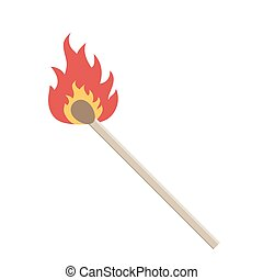 Match with fire. Vector illustration - Burning match on a...