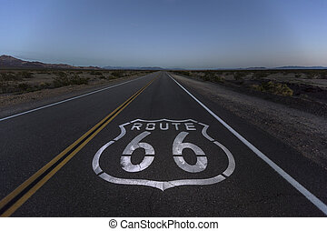 Mojave Desert Dusk on Route 66 - Route 66 pavement sign and...