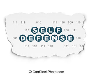 Security concept: Self Defense on Torn Paper background -...