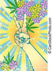 Flower power - Hand gesturing symbol of peace with flowers...