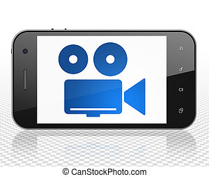 Tourism concept: Smartphone with Camera on display - Tourism...