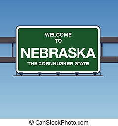 Vector - Welcome to Nebraska the Cornhusker State Interstate Highway overpass sign in a blue sky